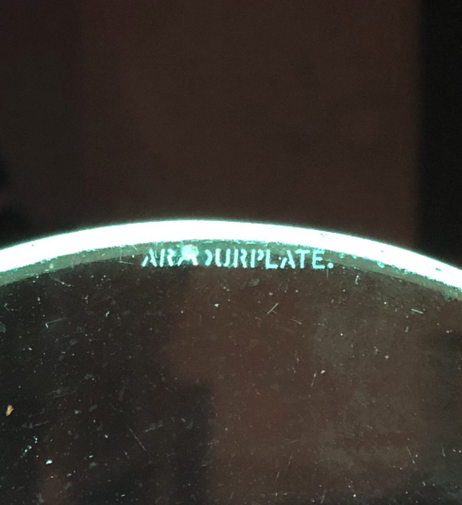 """ARMOURPLATE"" watermark embossed on the glass."